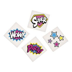 Superhero Girl Temporary Tattoos (72 Count)