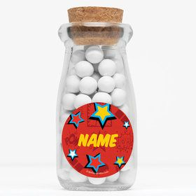 "Superhero Girls Personalized 4"" Glass Milk Jars (Set of 12)"