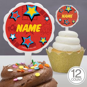 Superhero Girls Personalized Cupcake Picks 12 Count