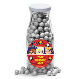 Superhero Girls Personalized Glass Milk Bottles (12 Count)