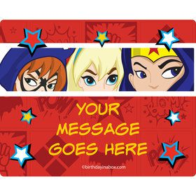 Superhero Girls Personalized Rectangular Stickers (Sheet of 15)