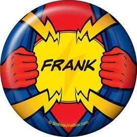 Superhero Party Personalized Button (each)