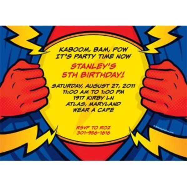 superhero party personalized invitation custom invitations party