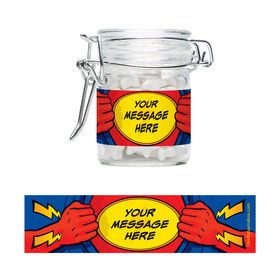 Superhero Personalized Glass Apothecary Jars (10 Count)