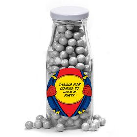 Superhero Personalized Glass Milk Bottles (10 Count)