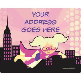 Superhero Pink Personalized Address Labels (Sheet of 15)