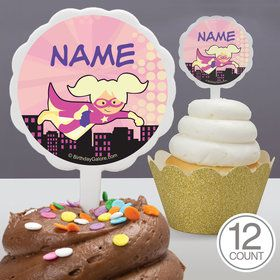 Superhero Pink Personalized Cupcake Picks (12 Count)