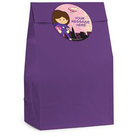 Superhero Pink Personalized Favor Bag (12 Pack)