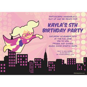 Superhero Pink Personalized Invitation (Each)