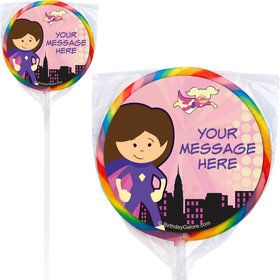 Superhero Pink Personalized Lollipops (12 Pack)