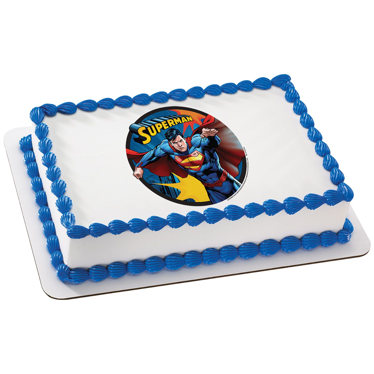 Superman Quarter Sheet Edible Cake Topper (Each) - Party Supplies