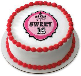 "Sweet 16 7.5"" Round Edible Cake Topper (Each)"