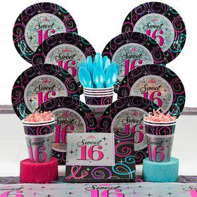 Sweet 16 Birthday Party Deluxe Tableware Kit Serves 8