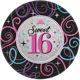 "Sweet 16 Celebration 7"" Cake Plates (8 Pack)"