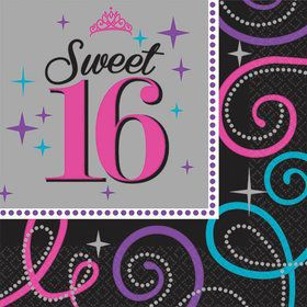 Sweet 16 Celebration Beverage Napkins (16 Pack)