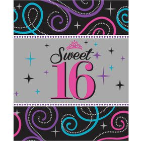 Sweet 16 Celebration Plastic Table Cover (Each)