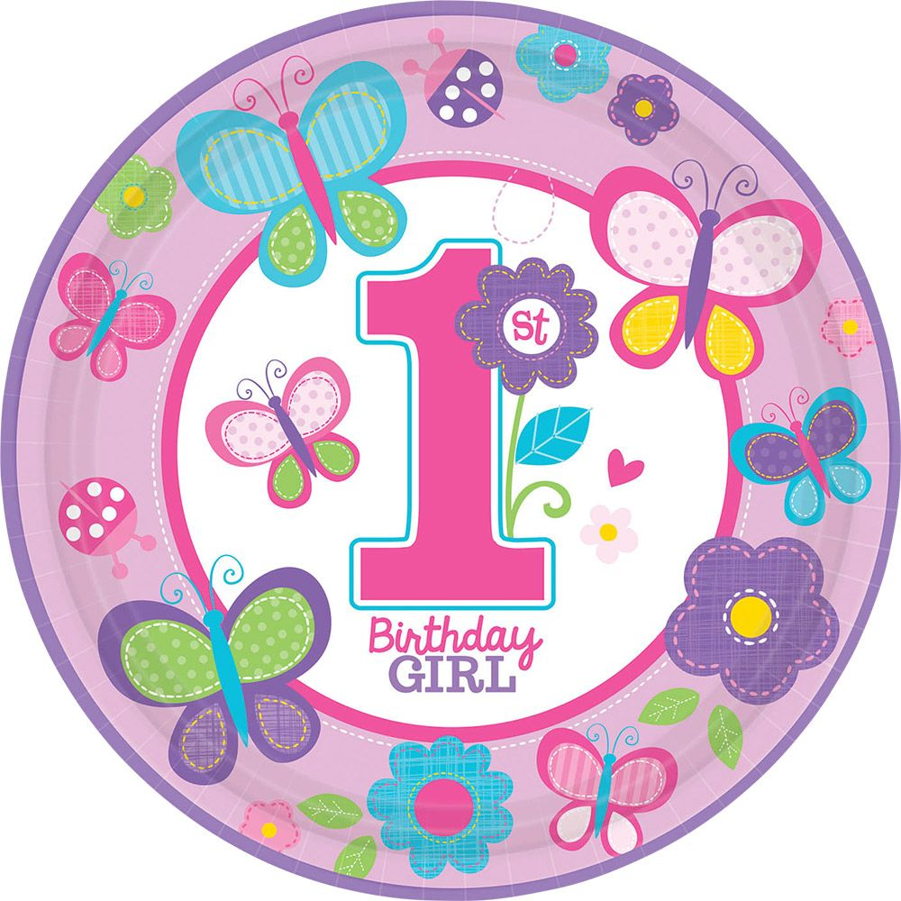 "Sweet 1st Birthday Girl 10 1/2"" Luncheon Plates (18 Pack) - Party Supplies BB721422"