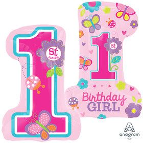 "Sweet 1st Birthday Girl 28"" Balloon (1)"