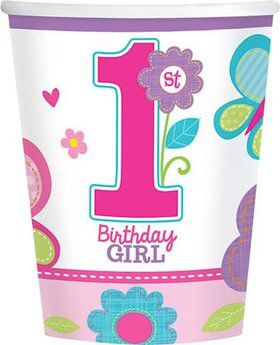 Sweet 1st Birthday Girl 9oz Cups (18 Pack)