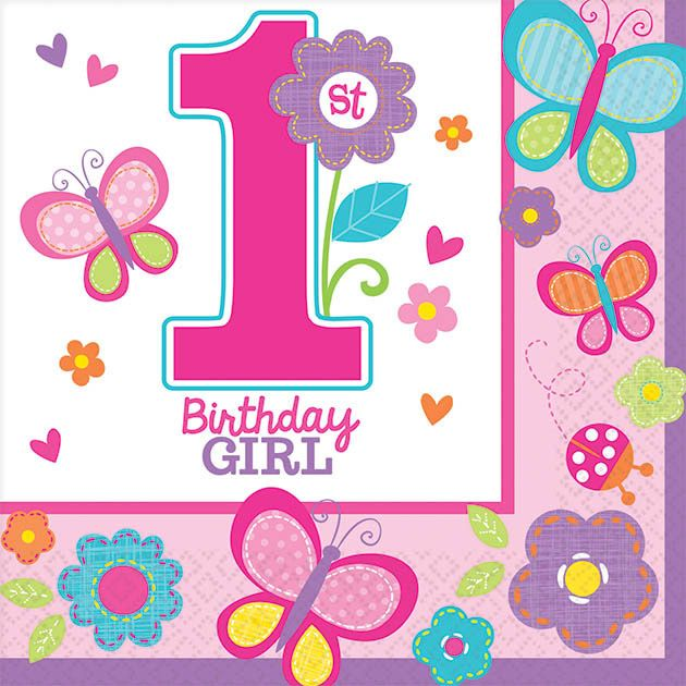 Sweet 1st Birthday Girl Beverage Napkins (36 Pack) - Party Supplies BB701422