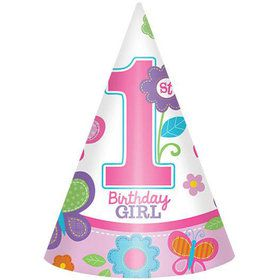Sweet 1st Birthday Girl Cone Hats (8 Pack)