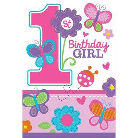 Sweet 1st Birthday Girl Invitations (8 Pack)