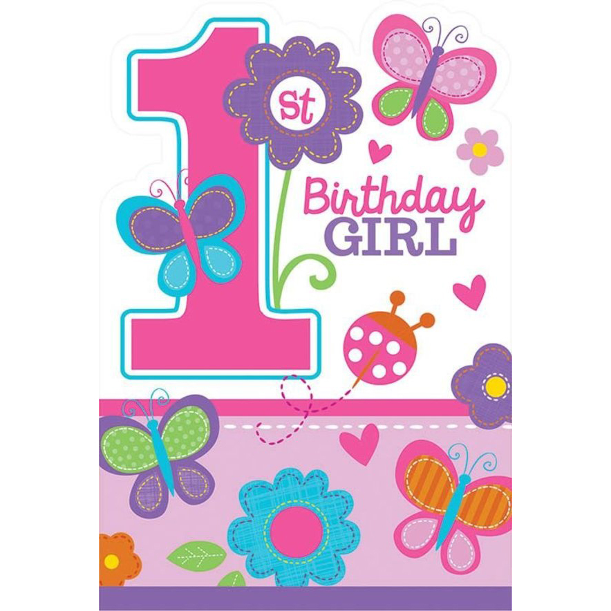 Sweet 1st Birthday Girl Invitations (8 Pack) - Party Supplies BB491422