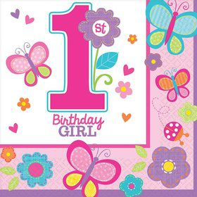Sweet 1st Birthday Girl Luncheon Napkins (36 Pack)