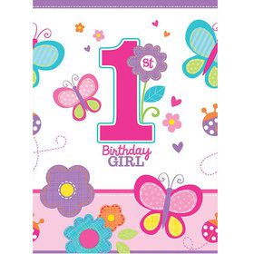 Sweet 1st Birthday Girl Plastic Table Cover (Each)