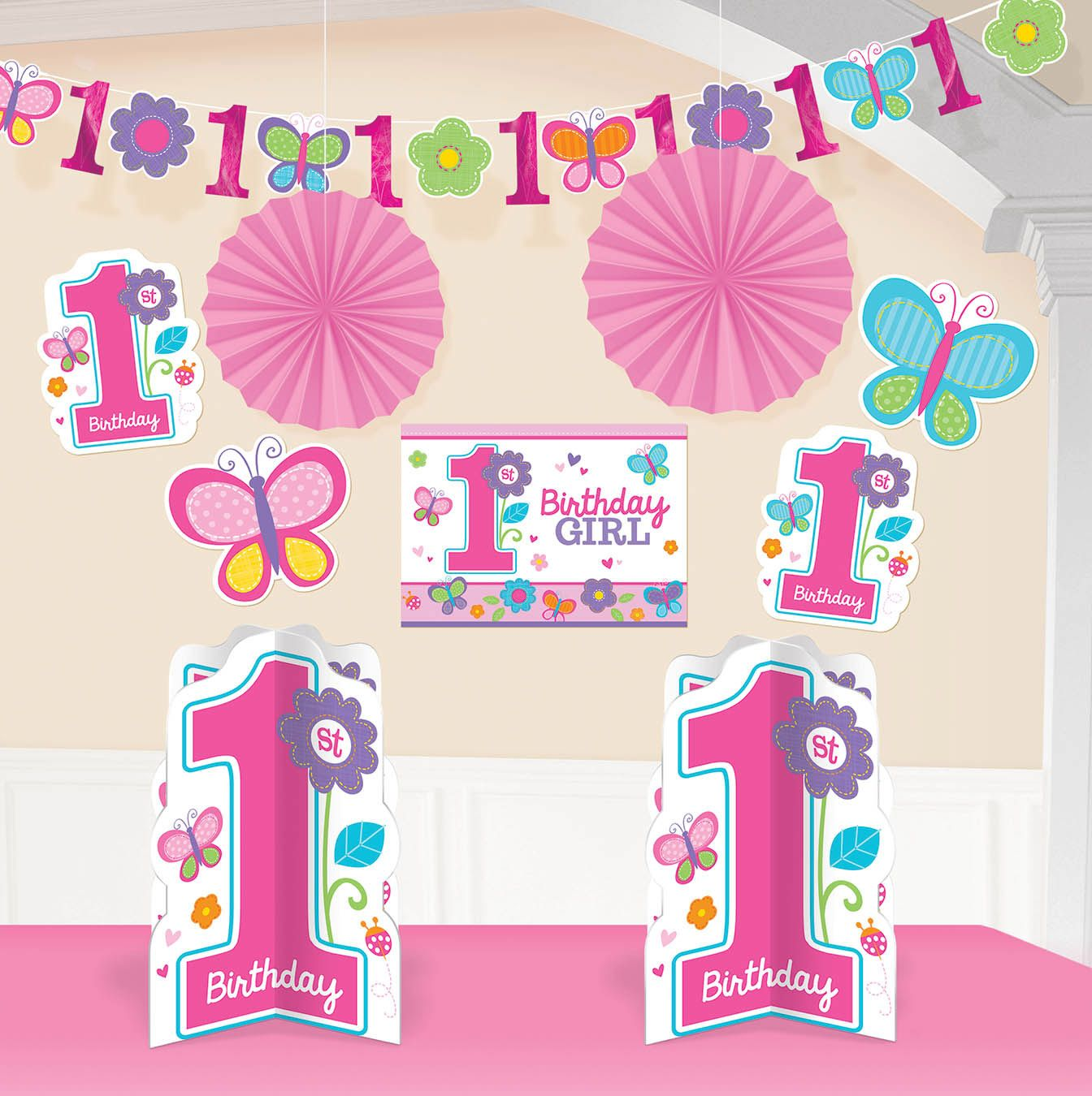 Sweet 1st Birthday Girl Room Decorating Kit (Each) Party Supplies