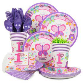 Sweet 1st Birthday Girl Standard Tableware Kit Serves 36
