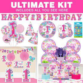 Sweet 1st Birthday Girl Ultimate Tableware Kit Serves 36