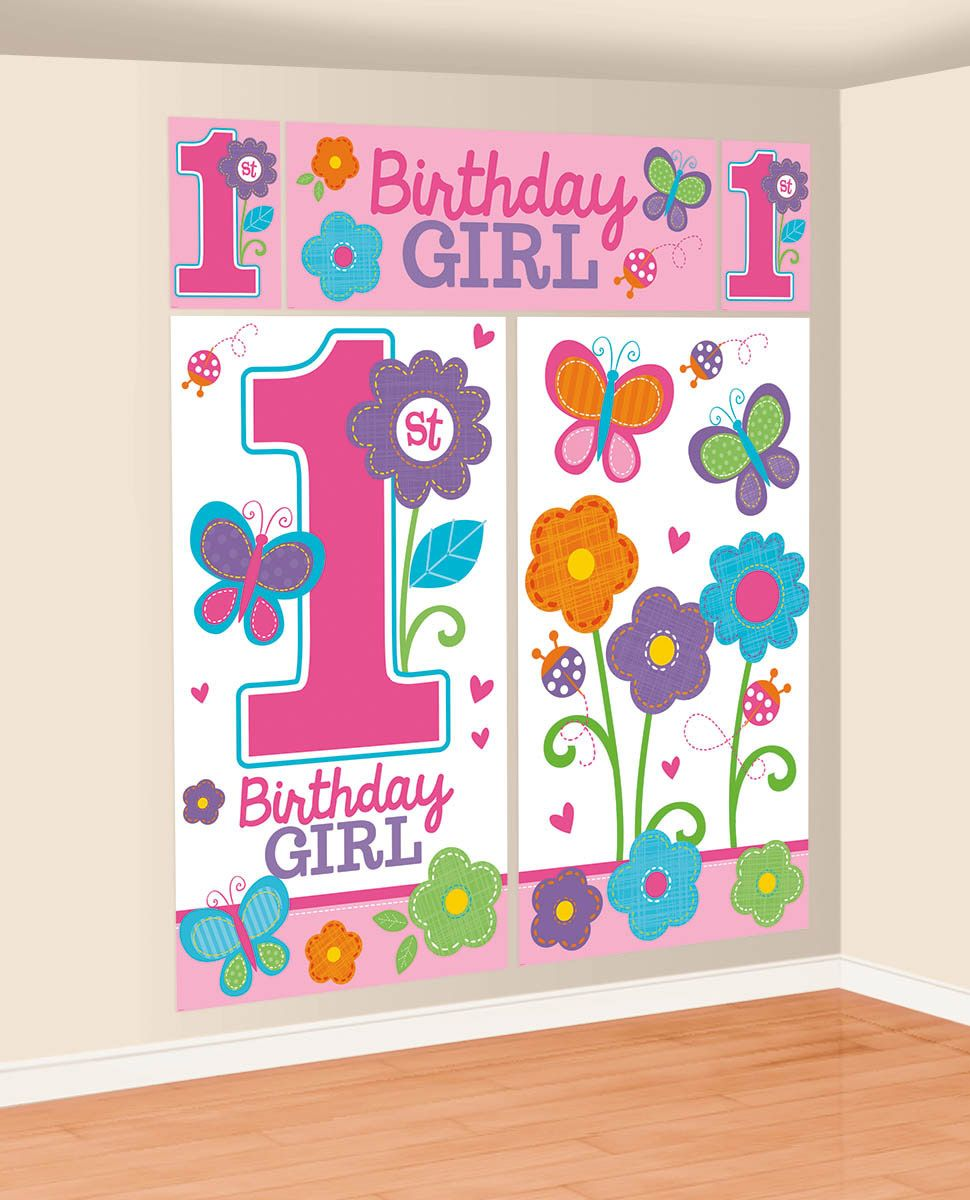 Sweet 1st Birthday Girl Wall Decorating Kit (Each) - Party Supplies BB670368