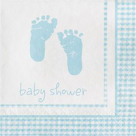 Sweet Baby Feet Blue Beverage Napkins (16 Pack)