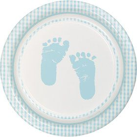 Sweet Baby Feet Blue Cake Plates (8 Pack)