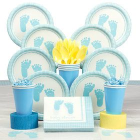 Sweet Baby Feet Blue Party Deluxe Tableware Kit Serves 8