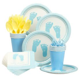 Sweet Baby Feet Blue Party Standard Tableware Kit Serves 8
