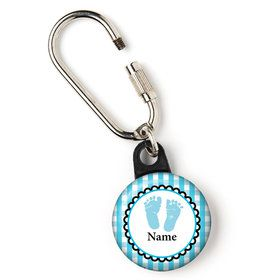 "Sweet Baby Feet Blue Personalized 1"" Carabiner (Each)"