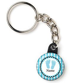 "Sweet Baby Feet Blue Personalized 1"" Mini Key Chain (Each)"