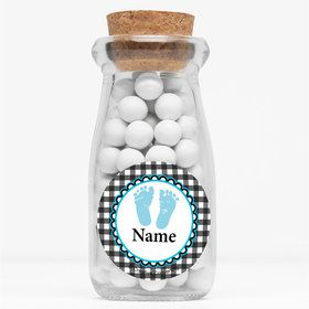 "Sweet Baby Feet Blue Personalized 4"" Glass Milk Jars (Set of 12)"
