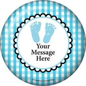 Sweet Baby Feet Blue Personalized Button (Each)
