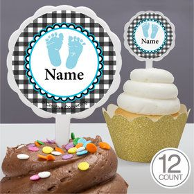 Sweet Baby Feet Blue Personalized Cupcake Picks (12 Count)