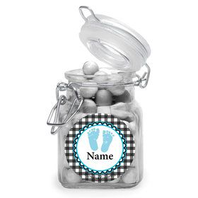 Sweet Baby Feet Blue Personalized Glass Apothecary Jars (10 Count)