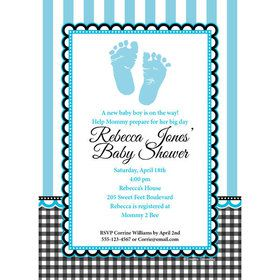 Sweet Baby Feet Blue Personalized Invitation (Each)