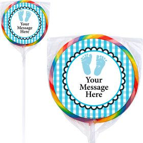Sweet Baby Feet Blue Personalized Lollipops (12 Pack)