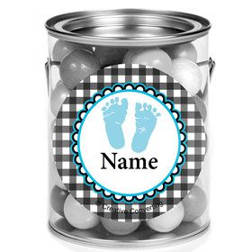 Sweet Baby Feet Blue Personalized Mini Paint Cans (12 Count)