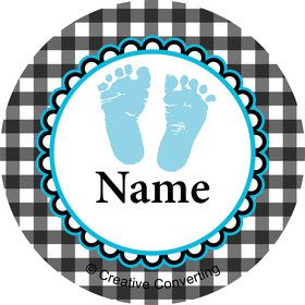 Sweet Baby Feet Blue Personalized Mini Stickers (Sheet of 20)