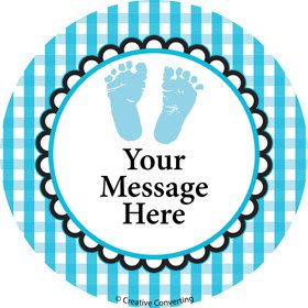 Sweet Baby Feet Blue Personalized Stickers (Sheet of 12)