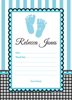 Sweet Baby Feet Blue Personalized Thank You (Each)