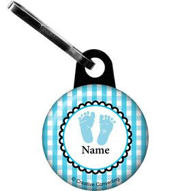 Sweet Baby Feet Blue Personalized Zipper Pull (Each)